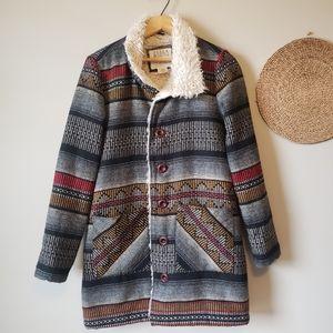 Billabong Aztec Long Coat Size Medium